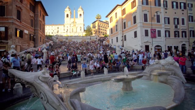 spanish steps in rome, italy - city break stock videos & royalty-free footage