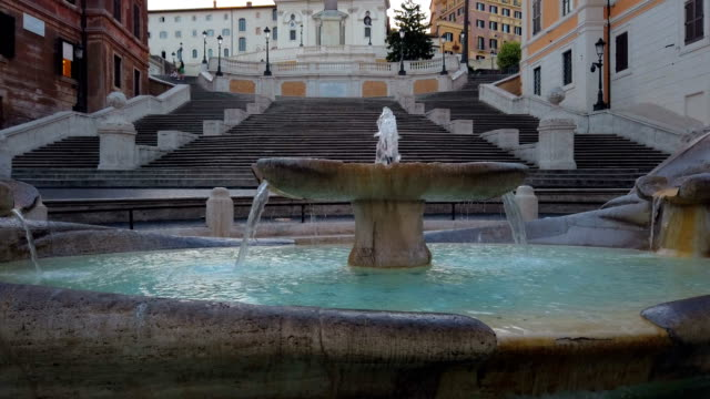 spanish steps in the morning, rome - rome italy stock videos & royalty-free footage