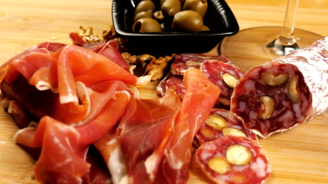 Spanish Tapas, pinchos. Small typical dishes. Jamon y embutidos.