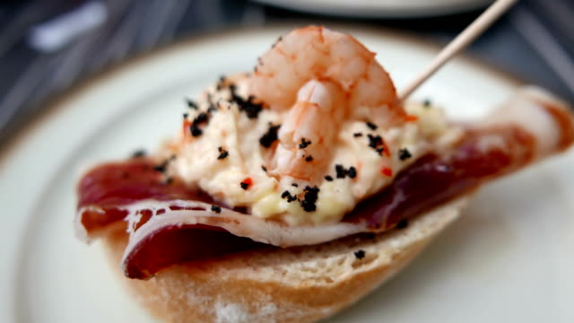 spanish tapas, pinchos. small typical dishes. version 2 - plate stock videos & royalty-free footage