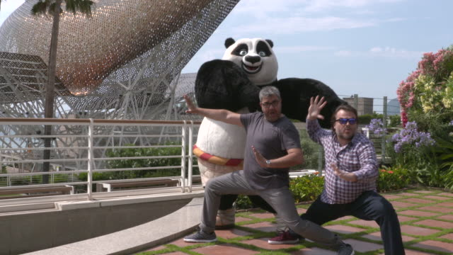 Spanish voice actor Florentino Fernandez and Jack Black attend a press presentation of Kung Fu Panda 3 at the Hotel Arts on June 23rd 2015 in...