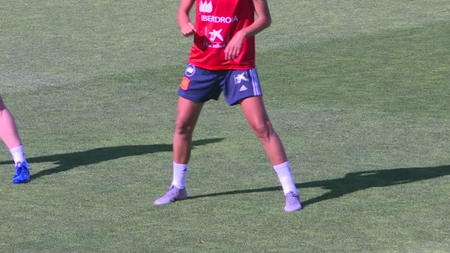 spanish woman football team during the first training before the fifa women's world cup france 2019 that it is taking place between 7 june and 7 july... - fifa stock videos and b-roll footage