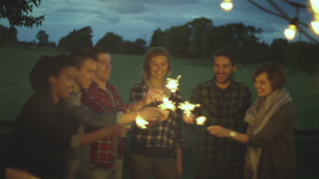 sparkler party - dinner party stock videos & royalty-free footage