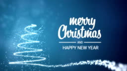 sparkling lights xmas tree Merry Christmas and Happy New Year greeting message in english on blue background,snow flakes.Elegant animated holiday season social post digital card 4k video