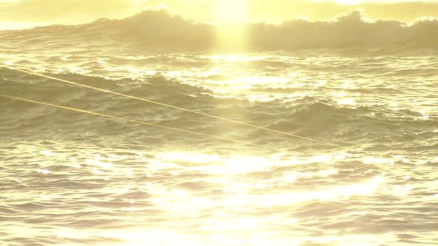 vidéos et rushes de cu, sparkling sea in morning sun, hokkaido, japan - rivage