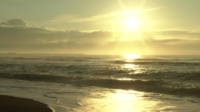 sparkling shore in morning sun, hokkaido, japan - satoyama scenery stock videos & royalty-free footage
