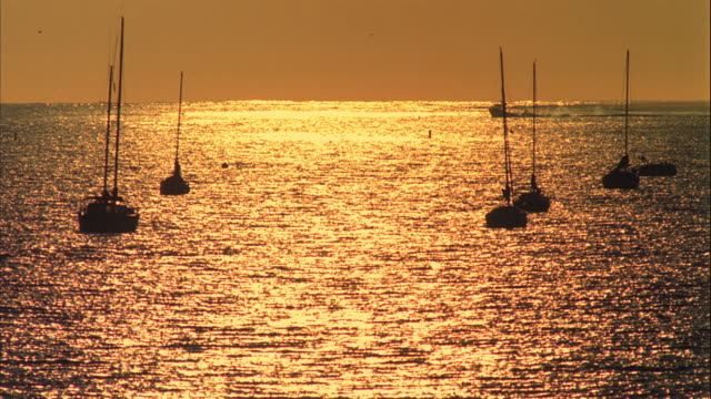 WS T/L Sparkling tide at near sunset with boats / Santa Barbara, California, United States