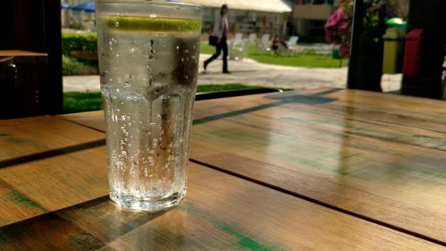 vídeos de stock e filmes b-roll de sparkling water lemon ice - citrino