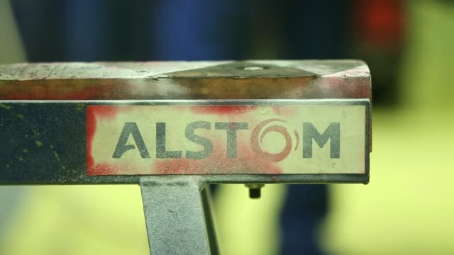 sparks fly as an alstom employee grinds a section of a turbine diaphragm at alstom sas power plant turbine refurbishment facility in rugby, uk, on... - cross section stock videos & royalty-free footage