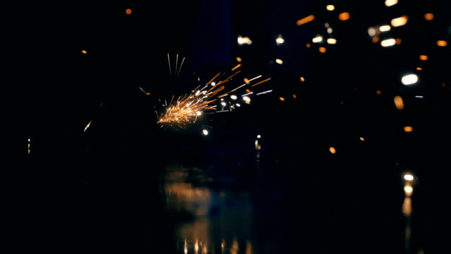 Sparks from welding steel
