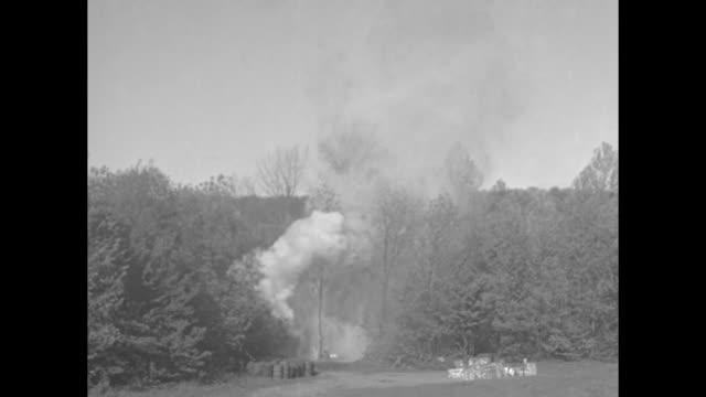 sparse forest and an innovative still in a tree / heavy damage / large tanks of mash / the tree is dynamited in a cloud of smoke, with views of the... - ゆでつぶし点の映像素材/bロール