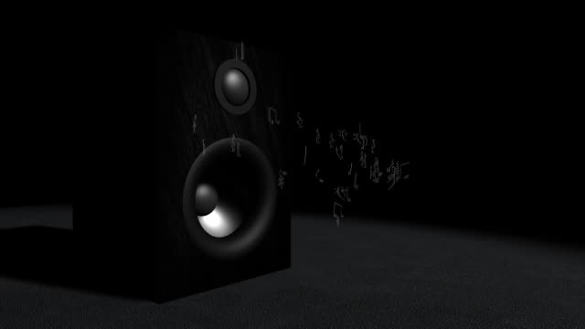 Speaker and musical notes