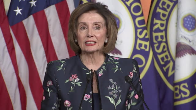 """vidéos et rushes de speaker nancy pelosi says """"if the president thinks that his or her presidency - in this case his presidency - is good for the country then any action... - united states and (politics or government)"""