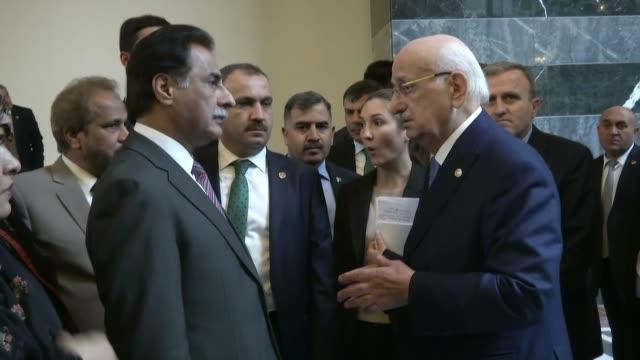 speaker of pakistani parliament serdar ayaz sadiq accompanies his turkish counterpart ismail kahraman as he visits grand national assembly of turkey... - 2017 stock videos & royalty-free footage