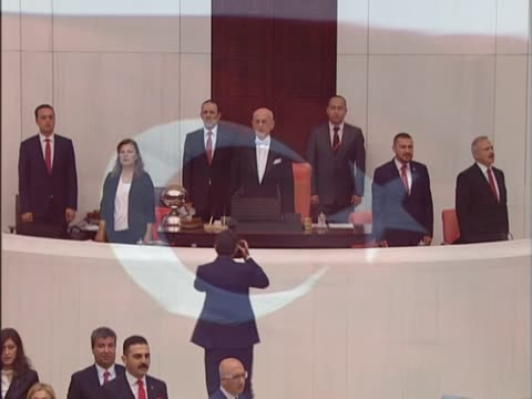 speaker of parliament ismail kahraman speaks during the general assembly with july 15 special agenda as part of the july 15 democracy and national... - french national assembly stock-videos und b-roll-filmmaterial