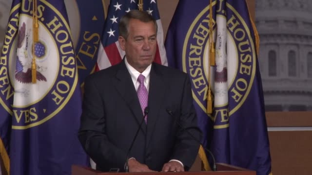 speaker of the house john boehner reacts to efforts by mark meadows to have a vote to oust the speaker - speaker of the house stock videos and b-roll footage