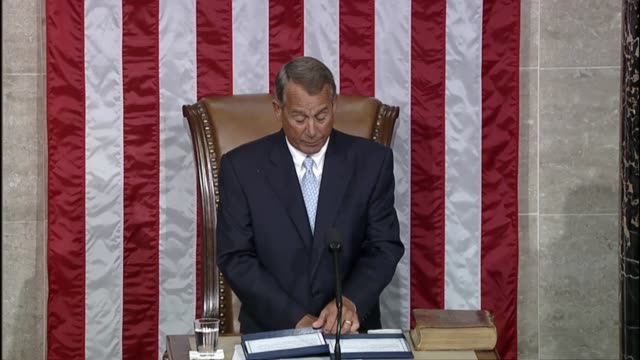 speaker of the house john boehner says in speech to the house opening the first session 114th congress that we may falter but we americans do not... - speaker of the house stock videos and b-roll footage