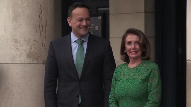 us speaker of the house nancy pelosi meets with irish prime minister leo varadkar during a visit to the irish capital dublin - leo varadkar stock videos and b-roll footage