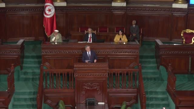 vidéos et rushes de speaker of the house of people's representatives mohamed ennaceur and european parliament president antonio tajani speak at the tunisian parliament... - bâtiment du parlement
