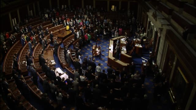 Speaker of the House Paul Ryan directs a moment of silence by the House during which members rise the day after a terrorist attack in Manchester...