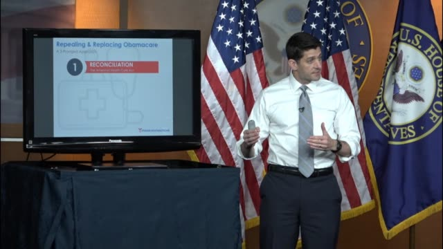 speaker of the house paul ryan of wisconsin enters a weekly press briefing telling reporters that he is going to walk through exactly what the... - speaker of the house stock videos and b-roll footage