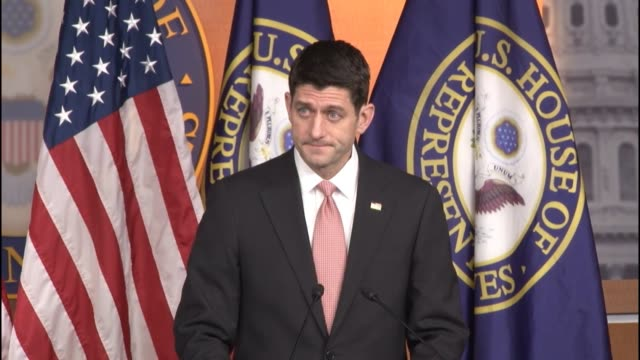 speaker of the house paul ryan of wisconsin remarks on bipartisan legislation passed earlier in the week including a bill that holds the epa... - speaker of the house stock videos and b-roll footage