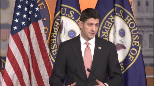 speaker of the house paul ryan of wisconsin tells reporters at a weekly briefing that the new chairman of the ways and means committee is working on... - speaker of the house stock videos and b-roll footage