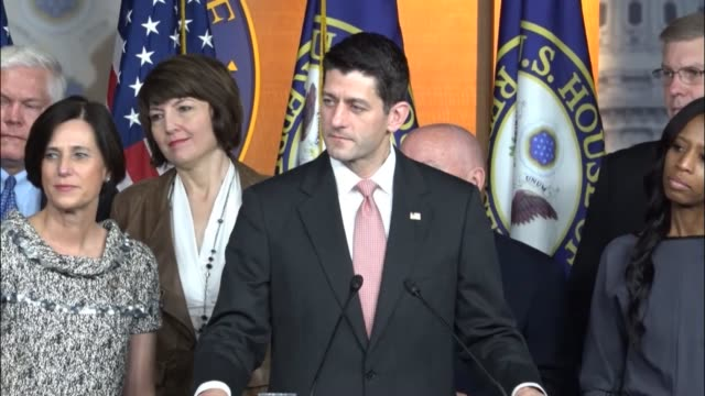speaker of the house paul ryan tells reporters that every group represented in the republican conference is concentrated on lowering premiums while... - herunterlassen stock-videos und b-roll-filmmaterial