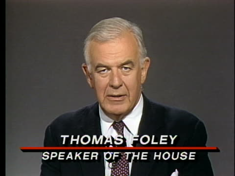 speaker of the house thomas foley compliments president george h. w. bush for his nato success and says the democratic party is ready to praise that... - united states and (politics or government) stock videos & royalty-free footage