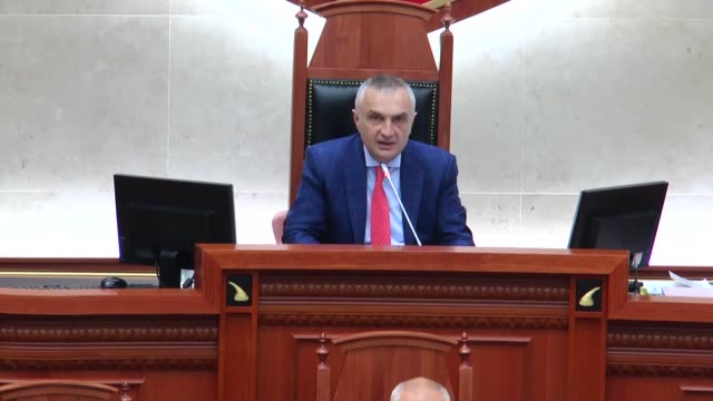speaker of the parliament of albania ilir meta speaks during the first round of presidential elections at albanian parliament in tirana albania on... - tirana stock videos & royalty-free footage