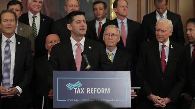 speaker paul ryan and majority leader mitch mcconnell speak during the news conference speaker of the house paul ryan and senate majority leader... - tax stock videos & royalty-free footage