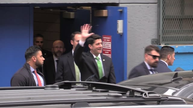 stockvideo's en b-roll-footage met speaker paul ryan leaves success academy in harlem hundreds of protesters yell and shout shame and f**k you paul ryan - geheime dienstagent