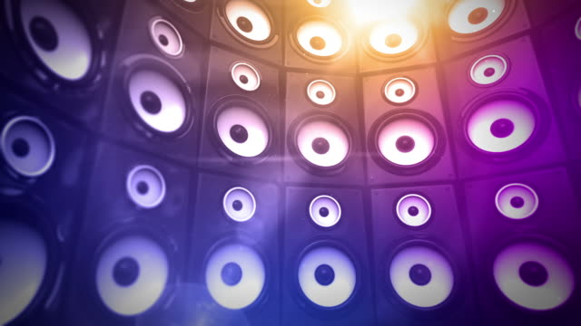 speaker wall background loop - tropical glow (full hd) - audio equipment stock videos & royalty-free footage