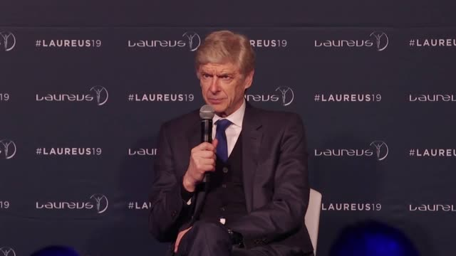 speaking after winning the lifetime achievement award at the laureus sports awards former arsenal manager arsene wenger believes the decision to... - アーセン・ベンゲル点の映像素材/bロール
