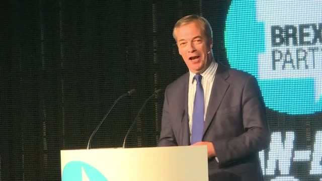 speaking at a rally in london anti eu populist nigel farage rejects britain's new deal to leave the european union after weeks of talks to amend a... - legislator stock videos & royalty-free footage