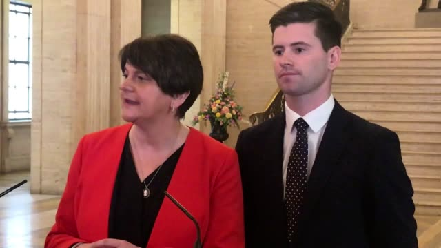 speaking at stormont dup leader arlene foster and sinn fein deputy leader michelle o'neill both condemn the murder of lyra mckee in londonderry... - stormont stock videos and b-roll footage