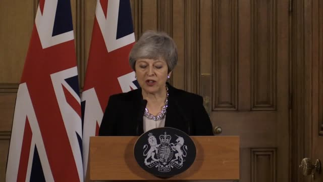 """speaking in 10 downing street following a seven-hour cabinet, theresa may said that the uk needs an extension to brexit talks which is """"as short as... - may stock videos & royalty-free footage"""