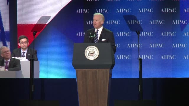 speaking in front of the pro israel lobby aipac us vice president joe biden underlined his administrations total committment to a secure israel clean... - soutien stock videos and b-roll footage