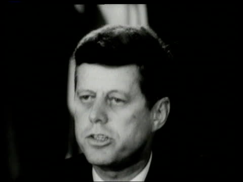 jfk speaking into microphone / un security council seated around horseshoe table - cuban missile crisis stock videos & royalty-free footage
