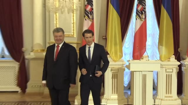 speaking to the media after talks with ukrainian president petro poroshenko austrian chancellor sebastian kurz condemns the russian aggression in the... - austrian culture stock videos and b-roll footage