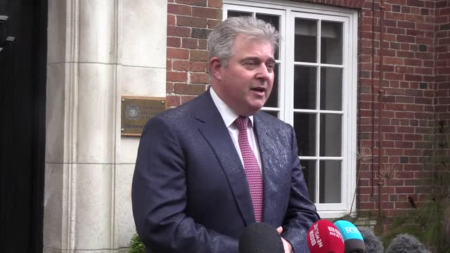 speaking to the media at stormont house in belfast, secretary of state brandon lewis welcomes the condemnation of violence from all the stormont... - graphical user interface stock videos & royalty-free footage