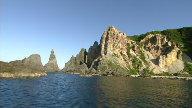 Spearheadlike pointed cliff of Shimamui coast Shot from aboard Wide and Dolly Shot