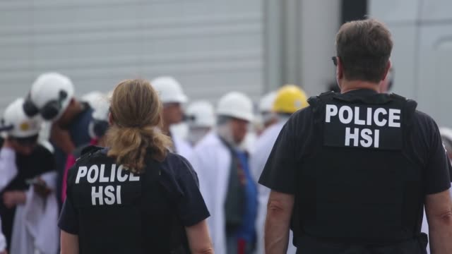 special agents from us immigration and customs enforcement's and homeland security investigations executed a criminal search warrant at fresh mark in... - ice us homeland security stock videos & royalty-free footage
