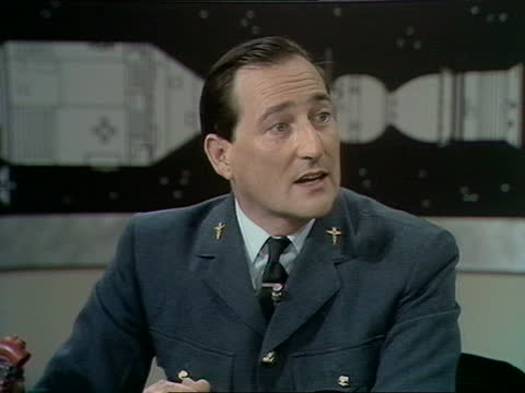 apollo-soyuz special:; england: studio: int live presenter reginald bosanquet and peter fairley interview with wing commander gordon sharp interview... - carbonated stock videos & royalty-free footage