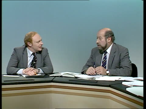 bermondsey by-election: live part one:; england: london: itn: alastair burnet live studio clement freud mp , neil kinnock mp and cecil parkinson mp... - alastair burnet stock videos & royalty-free footage