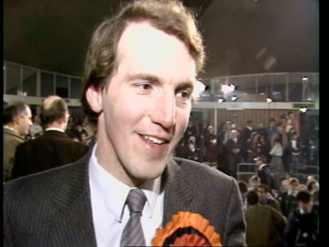 bermondsey byelection live part two england london bermondsey geoffrey chaucer school simon hughes mp live interview sot on size of victory - nachwahl stock-videos und b-roll-filmmaterial