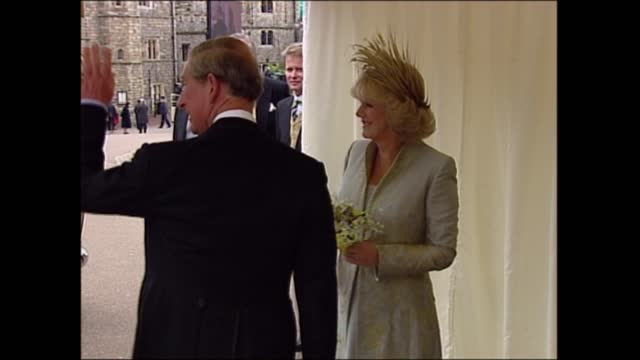 'charles and camilla: a royal wedding': clean feed; england: berkshire: windsor castle: ext car carrying prince charles, prince of wales and camilla,... - floor length stock videos & royalty-free footage