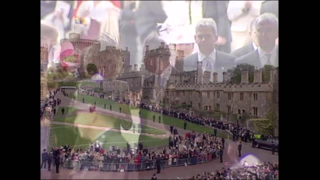 'charles and camilla: a royal wedding': clean feed; england: berkshire: windsor castle: ext 2 white coaches with 'windsorian' on side by steps to st... - sophie rhys jones, countess of wessex stock videos & royalty-free footage