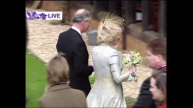 'charles and camilla: a royal wedding': pab; england: berkshire: windsor castle: ext 2 white coaches with 'windsorian' on side by steps to st... - sophie rhys jones, countess of wessex stock videos & royalty-free footage