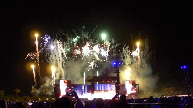 """special effect fireworks for the song """"live and let die"""" paul mcartney and neil young performing a clip of """"give peace a chance"""" special effects... - special effect stock videos & royalty-free footage"""